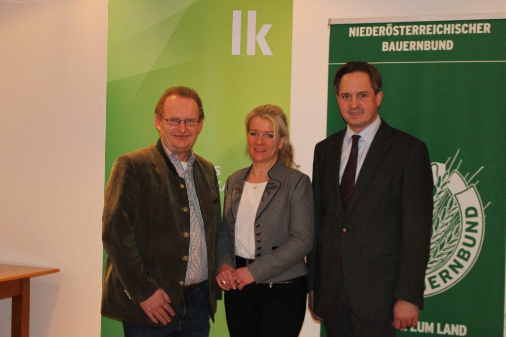 Kandidaten Landeskammerrat: Ersatzkandidat Josef Freiler, Kandidatin Irene Neumann-Hartberger, Kammerpräsident Johannes Schmuckenschlager
